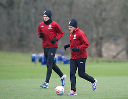 CARDIFF, WALES - Monday, March 25, 2013: Wales' Craig Bellamy and Gareth Bale during a training session at the Vale of Glamorgan ahead of the 2014 FIFA World Cup Brazil Qualifying Group A match against Croatia. (Pic by David Rawcliffe/Propaganda)