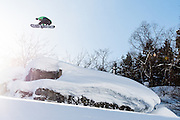 Matt Belzile, fakie stalefish, Hakuba backcountry, Japan.