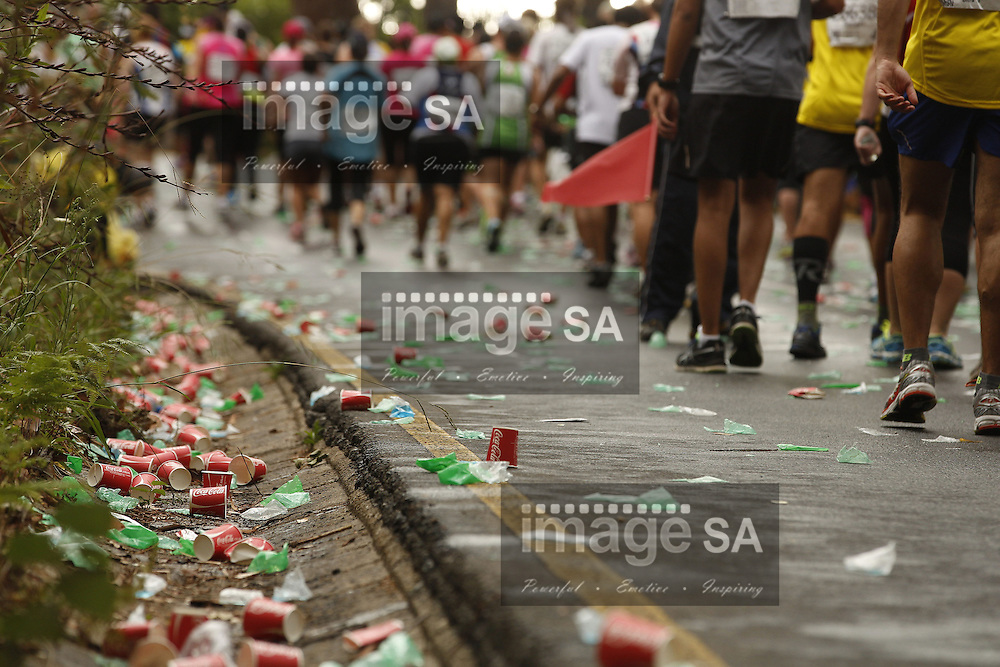 CAPE TOWN, South Africa - Saturday 30 March 2013, Discarded water and coke during the half marathon of the Old Mutual Two Oceans Marathon. .Photo by Nick Muzik/ ImageSA
