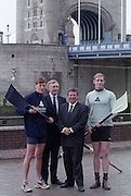 London. United Kingdom. Aberdeen Asset Management, announce, they are to sponsor the Annual Varsity Boat Race - between Oxford University BC and Cambridge University BC. at Tower Bridge. [Mandatory CreditPeter Spurrier/Intersport-images]  25.11.1999..People: Cambridge President, Brad CROMBIE, Oxford President Charlie HUMPHRIES, Martin GILBERT,  Chief Executive Aberdeen Asset Management, and Boat race Representative Duncan CLEGG Boat Race Organiser. ..Rowing Varsity 2012 011049.jpg..Scanned in 2012 so has 2012 file No.