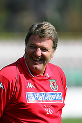 WARSAW, POLAND - TUESDAY, SEPTEMBER 6th, 2005: Wales' manager John Toshack is all smiles during training at the Legia Stadium ahead of his side's World Cup Group Six Qualifying match against Poland. (Pic by David Rawcliffe/Propaganda)