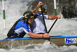 Nejc Visnar and Urban Jarc (SLO) of Men's C2 Canoe Double at Heats - 1st Run of ICF Kayak/Canoe Slalom Racing World Cup Tacen 2008, on June 28, 2008, Ljubljana, Slovenia. (Photo by Vid Ponikvar / Sportal Images)../ Sportida)