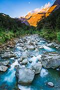 Moonrise over Mount Madeline and the Tutoko River, Fiordland National Park, South Island, New Zealand