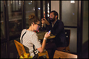 NINA FELLMANN; MANUEL FANELLI, Frieze party, ACE hotel Shoreditch. London. 18 October 2014