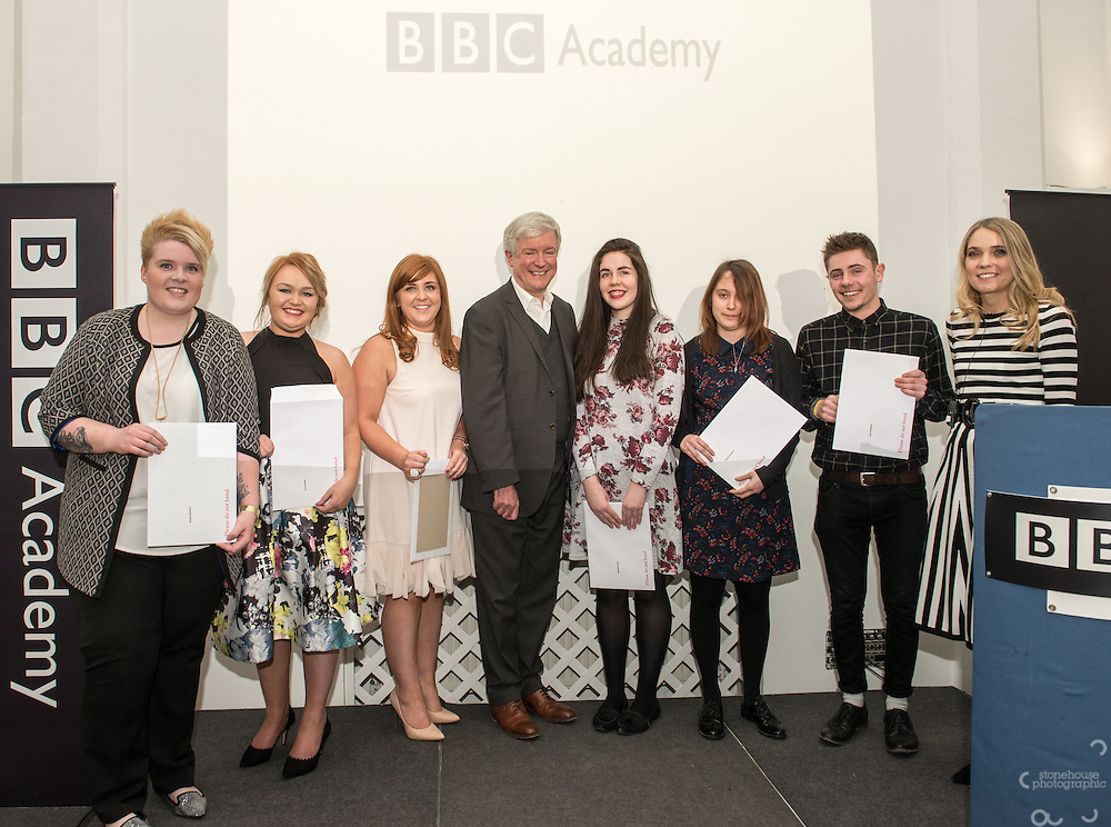 BBC DG Tony Hall and NCTJ Chief Executive Joanne Butcher percent certificates to students at the BBC Academy Local Apprenticeship Scheme Awards 2016 at The Custard Factory, Old Library, Birmingham, 24th, February.2016<br /> <br /> Chantal Hartle, Chloe Western, Emily Dittmar, Emma Geeson, Fran Potter, Jack Suddaby
