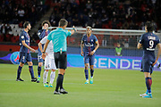 Presnel Kimpembe (PSG) and referee after a fault, Adrien Rabiot (psg), Thiago Motta Santon Olivares (psg), Jonathan DELAPLACE (SM Caen), Edinson Roberto Paulo Cavani Gomez (psg) (El Matador) (El Botija) (Florestan) during the French Championship Ligue 1 football match between Paris Saint-Germain and SM Caen on May 20, 2017 at Parc des Princes stadium in Paris, France - Photo Stephane Allaman / ProSportsImages / DPPI