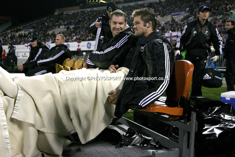 Injued All Black team mates Ali Williams and Richie McCaw.<br />