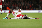 Arsenal attacker Danny Welbeck (23) laying on the floor, after the goal went in during the Europa League semi final first leg match between Arsenal and Atletico Madrid at the Emirates Stadium, London, England on 26 April 2018. Picture by Matthew Redman.