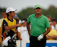 Seve Ballesteros and his son caddying for him during the second round on 21st July 2006<br /> The Open Championship 2006, Royal Liverpool GC, Hoylake, England,UK.<br /> Picture Credit: Mark Newcombe / visionsingolf.com