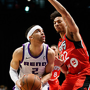 Reno Bighorns Guard CODY DEMPS (2) works against Raptors 905 Guard MALACHI RICHARDSON (22) during the NBA G-League Basketball game between the Reno Bighorns and the Raptors 905 at the Reno Events Center in Reno, Nevada.
