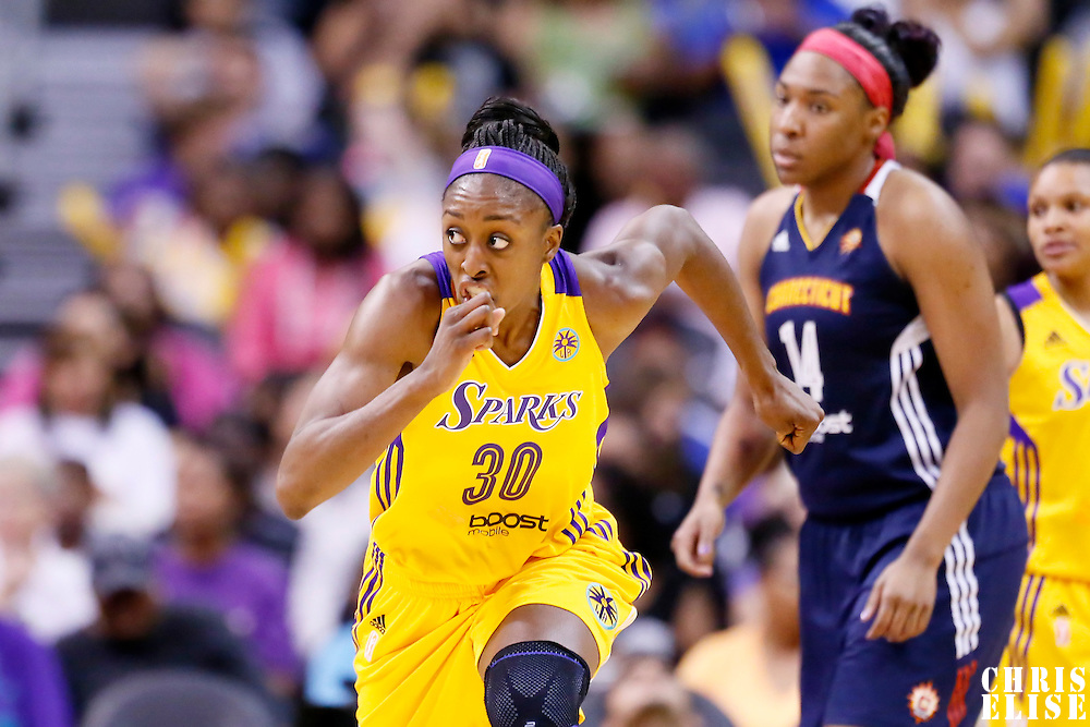 03 August 2014: Los Angeles Sparks forward Nneka Ogwumike (30) runs the court during the Los Angeles Sparks 70-69 victory over the Connecticut Sun, at the Staples Center, Los Angeles, California, USA.