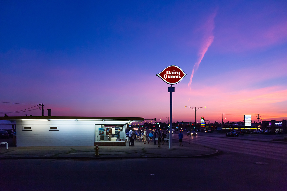"SOLD Ice Cream Stand, Summer Night on Eighth Street, Saskatoon. 8"" x 12"" photograph on paper, framed."