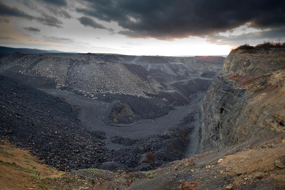 Coal mine at sunset