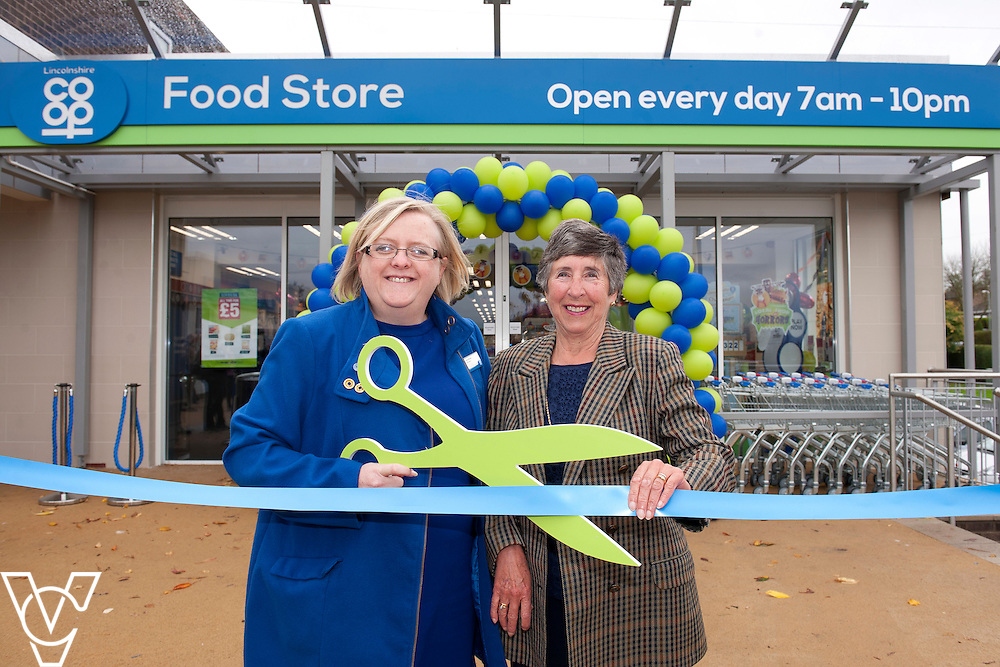 Pictured is Lincolnshire Co-operative president Amy Morley, left, and Di James from Washingborough Food Store's community champions Canwick Playing Field Association<br /> <br /> Official re-opening of the refurbished Washingborough Food Store and precinct, which includes the Co-op Pharmacy.<br /> <br /> Date: October 30, 2015<br /> Picture: Chris Vaughan/Chris Vaughan Photography