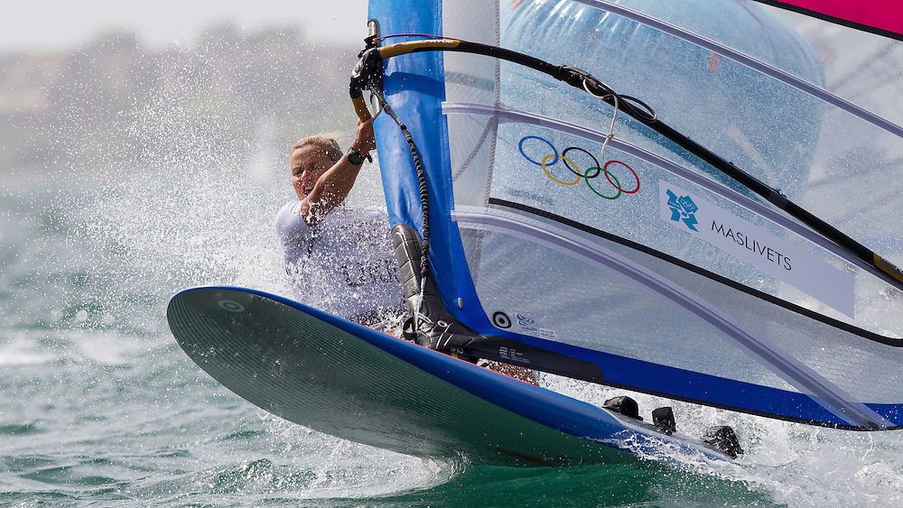 ENGLAND, Weymouth. 2nd August 2012. Olympic Games. Women's RS:X Class. Olha Maslivets (UKR).