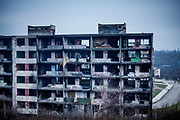 "The decrepit highrise building ""Hrebenova 34-36"" in January 2014 seen from the backside. The building was later on demolished by the city of Kosice in August 2014. Lunik IX has officially 6542 registered (12/2015) inhabitants and almost all of them are of Roma ethnicity."