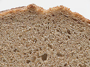 cropped front view of an organic sour dough whole wheat bread.