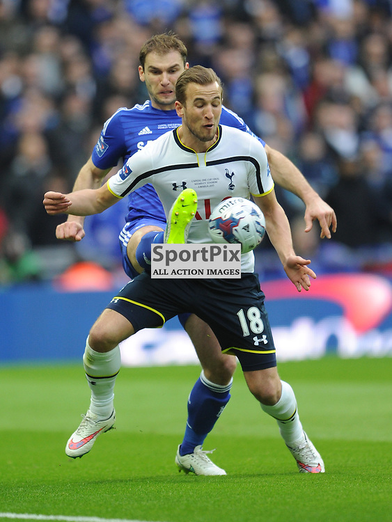 Harry Kane under pressure to protect the ball in the Capital One Cup Final, Chelsea v Tottenham Hotspur Wembley Stadium Sunday 1st March 2015