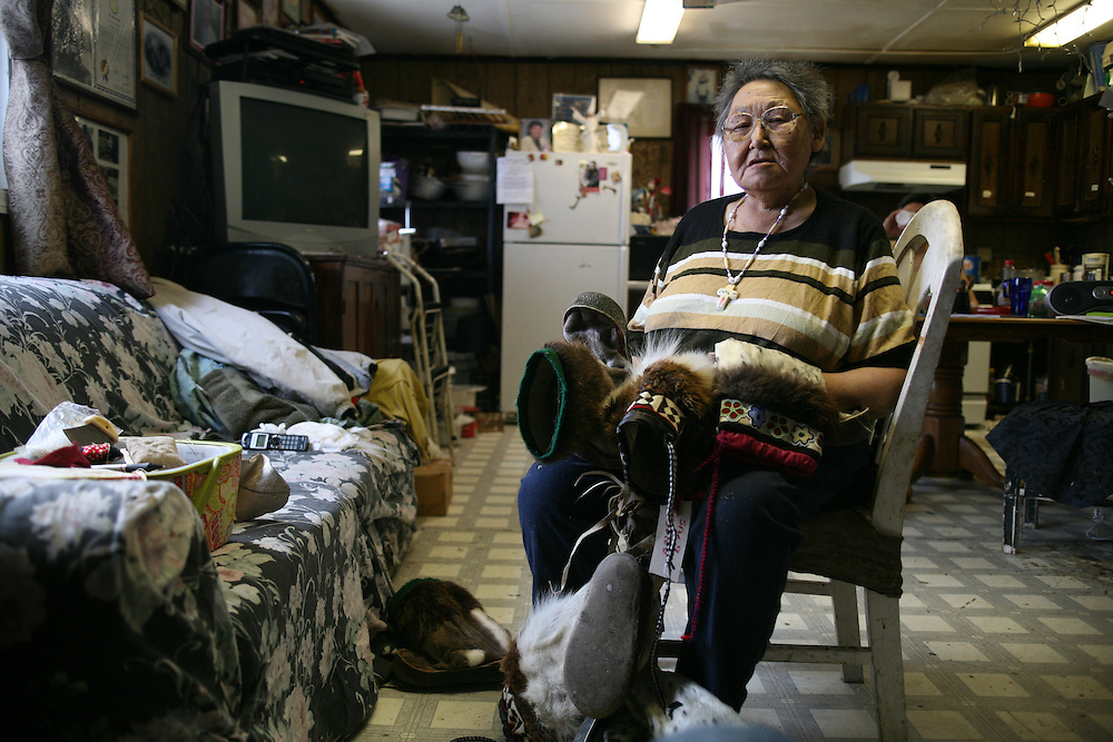 Artist Lucy S. Adams in her home in Kivalina, Alaska. 2009