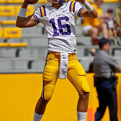 October 8, 2011; Baton Rouge, LA, USA; LSU Tigers quarterback Stephen Rivers (16) prior to kickoff of a game against the Florida Gators at Tiger Stadium.  Mandatory Credit: Derick E. Hingle-US PRESSWIRE / © Derick E. Hingle 2011
