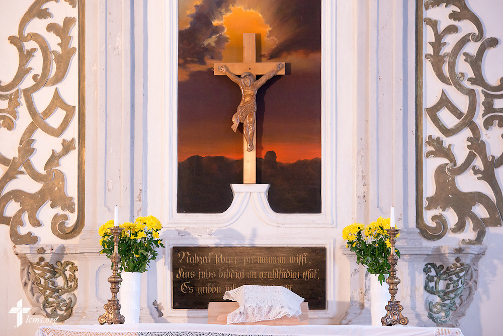 The altar of the parish of The Evangelical Lutheran Church of Latvia in rural Skulte on Wednesday, Feb. 4, 2015. LCMS Communications/Erik M. Lunsford