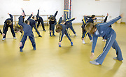 LEBANON, BEIRUT:  Pre-teens exercising with their class in a Beirut school.