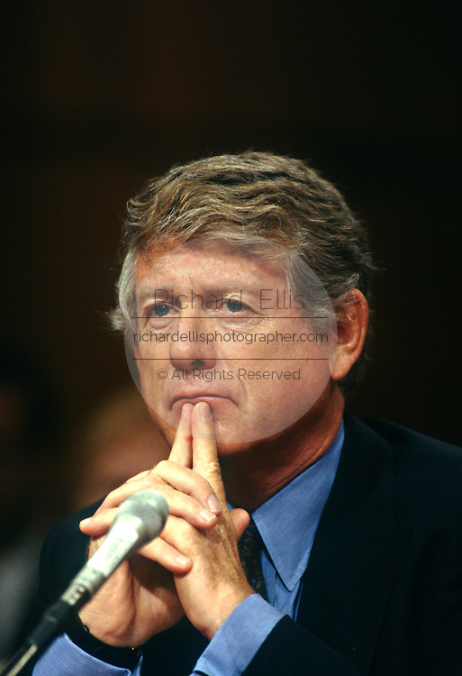 Television journalist Ted Koppel testifies in the Senate Select Committee on Intelligence July 17, 1996 in Washington, DC.  The hearings examined the Central Intelligence Agency policy on the use of <br /> journalists as cover for intelligence operations