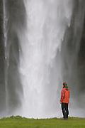 Tourist watches the big  waterfall of Seljandsfoss. Iceland.
