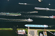 Nederland, Noord-Holland, Amsterdam, 29-06-2018; Oude Houthaven met Haparandadam en REM Eiland. Druk scheepvaartverkeer op het IJ.<br /> Busy shipping traffic on the IJ.<br /> <br /> luchtfoto (toeslag op standard tarieven);<br /> aerial photo (additional fee required);<br /> copyright foto/photo Siebe Swart