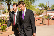 21 MAY 2012 - PHOENIX, AZ:   CONGRESSMAN BEN QUAYLE (R-AZ 3) and an aide walk into the US House of Representatives Committee on Homeland Security, Subcommittee on Border and Maritime Security. The subcommittee met Monday in Phoenix to talk about ways to improve information-sharing among government law enforcement agencies to thwart the flow of illicit drugs from Mexico into Arizona. Republican Congressman Paul Gosar and Ben Quayle, both from Arizona, and Democratic Congresswoman Sheila Jackson Lee, from Texas, attended the meeting.             PHOTO BY JACK KURTZ