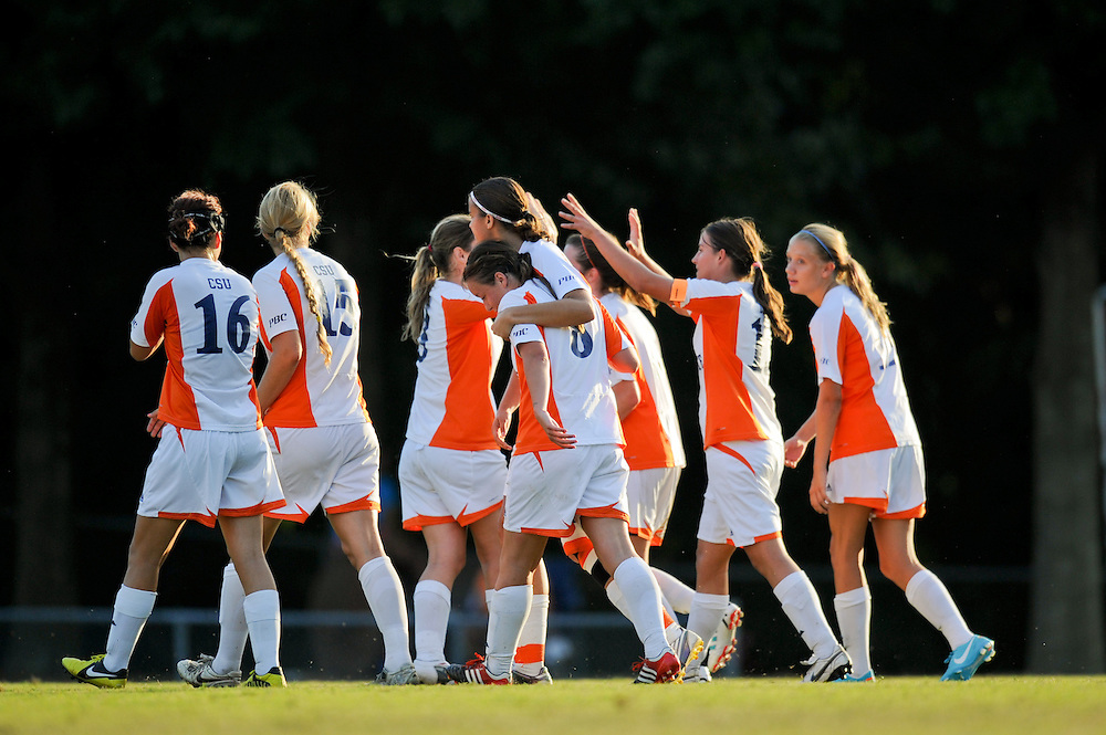 Sept. 26, 2012; Morrow, GA, USA; Clayton State women's players Brooke Bortles, Becky Brown, Pearl Slattery, Silvia Espelt, Josefine Holsten, and Courtney Hodges during the game against Montevallo at CSU. Photo by Kevin Liles/kdlphoto.com
