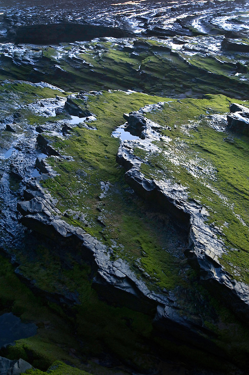 Wet, rocky landscape, Monte Clerigo Beach, Southwest Alentejo and Vicentine Coast Natural Park, Portugal