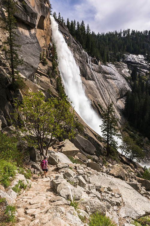 Hiker on the Nevada Fall trail, Yosemite National Park, California USA