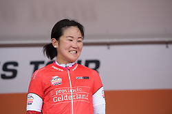 Eri Yonamine earns the combativity award after her day in the break at Boels Rental Ladies Tour Stage 2 a 132.8 km road race from Eibergen to Arnhem, Netherlands on August 30, 2017. (Photo by Sean Robinson/Velofocus)