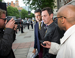 Tim Haries leaves court (wearing a Spider-Man logo belt) after appearing on charges of criminal damage following the defacing of a portrait of the Queen hanging in Westminster Abbey. The Fathers4Justice campaigner is accused of writing the word 'HELP' across the canvas, London, UK, June 14, 2013. Photo by:  i-Images