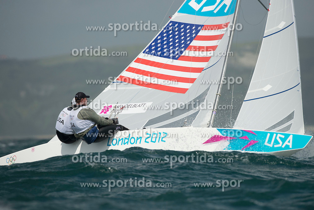 02.08.2012, Bucht von Weymouth, GBR, Olympia 2012, Segeln, im Bild ..MENDELBLATT Mark, Fatih Brian, (USA, Star) // during Sailing, at the 2012 Summer Olympics at Bay of Weymouth, United Kingdom on 2012/08/02. EXPA Pictures © 2012, PhotoCredit: EXPA/ Juerg Kaufmann ***** ATTENTION for AUT, CRO, GER, FIN, NOR, NED, POL, SLO and SWE ONLY!