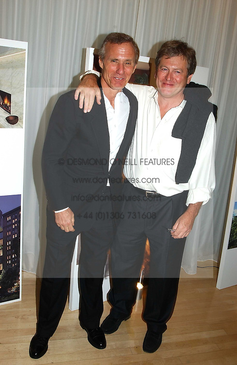 Left to right, IAN SCHRAGER and JOHN PAWSON at a party at The Sanderson Hotel on 9th June 2005 to launch 50 Gramercy Park North - Ian Schrager's show-stopping new residential project in New York City. Schrager, with the help of UK architect John Pawson, is building a block of 23 original residences facing Gramercy Park, inbetween two blocks of the Gramercy Park Hotel. <br />