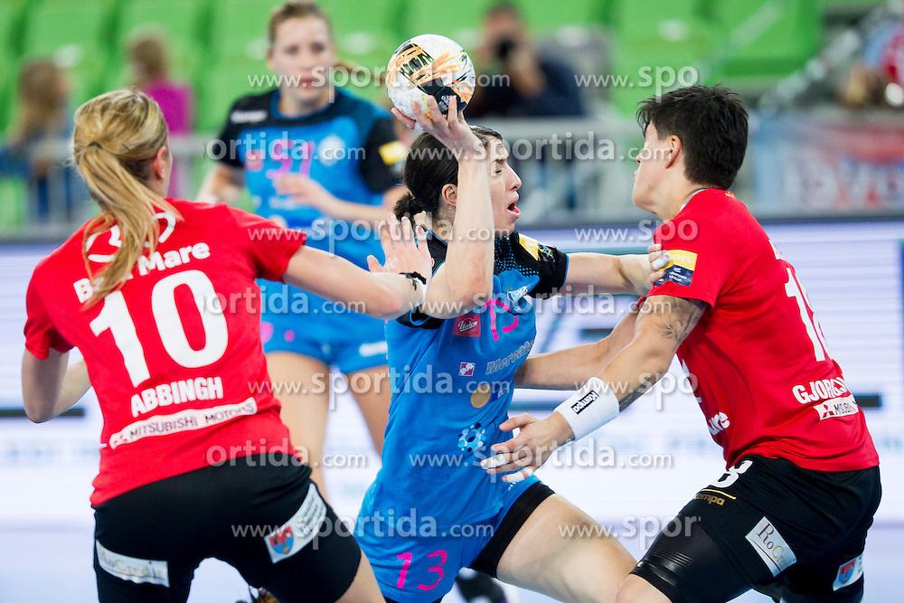 Mirjeta Bajramoska of RK Krim Mercator and Elena Gjorgijevska of HCM Baia Mare during handball match between RK Krim Mercator (SLO) and HCM Baia Mare (ROM) in 1st Round of Women's EHF Champions League 2015/16, on October 16, 2015 in Arena Stozice, Ljubljana, Slovenia. Photo by Urban Urbanc / Sportida