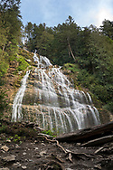 Looking up at Bridal Veil Falls at Bridal Veil Falls Provincial Park in Chilliwack, British Columbia, Canada