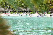 Start of the distance prone race on Day 1 of the Ironmana in Bora Bora, a popular island in French Polynesia (the Tahitian Islands.)