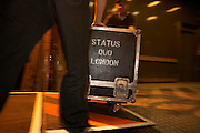 Roadies of rock band Status Quo roll gig equipment in travel cases off stage in Lille, france durin group's European tour.