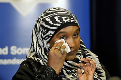 © Licensed to London News Pictures. 01/10/2014. Bristol, UK.  Safiya Hussien, mother of missing girl Yusra Hussien, at a press conference hosted by Avon & Somerset Police in Bristol. Photo credit : Simon Chapman/LNP
