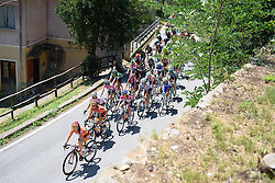 Boels Dolmans set a high pace on the first climb, shattering the peloton into pieces at Giro Rosa 2016 - Stage 6. A 118.6 km road race from Andora to Alassio, Italy on July 7th 2016.
