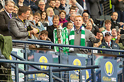 Interim Celtic Manager Neil Lennon builds the tension as he prepares to lift the William Hill Scottish Cup following their victory in the William Hill Scottish Cup Final match between Heart of Midlothian and Celtic at Hampden Park, Glasgow, United Kingdom on 25 May 2019.