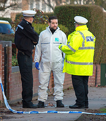 © London News Pictures. 22/02/2018. Coventry, UK.<br /> Police and forensics at the scene where a toddler has died and his six-year-old brother has been left in critical condition when the pair where hit by a car which failed to stop on MacDonald Road in the Stoke area of Coventry. A 22-year-old man and a 41-year-old woman, who were diving a black Ford Focus, have been arrested. Photo credit: Dave Warren/LNP