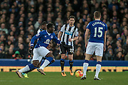 Romelu Lukaku (Everton) runs at the Newcastle defence during the Barclays Premier League match between Everton and Newcastle United at Goodison Park, Liverpool, England on 3 February 2016. Photo by Mark P Doherty.