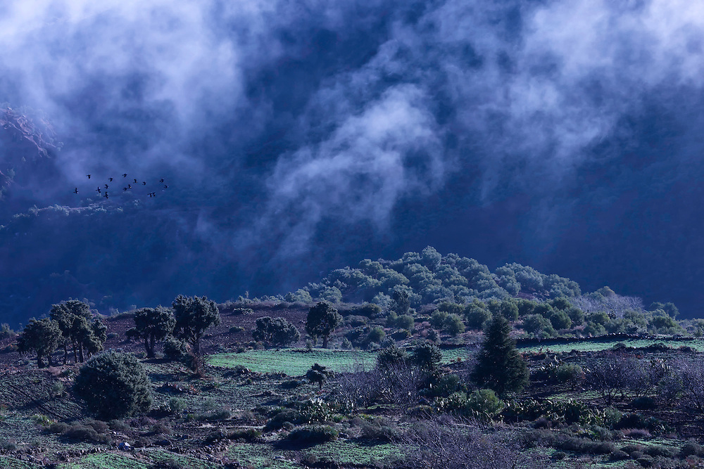 High Atlas Mountains with morning fog, Morocco.