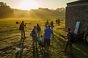 Photography at the Spiro Mounds Archaeological Center Oklahoma for Amercian Archaeology Magazine by Wesley Hitt.<br /> Students head out to the site after collecting their tools in the morning light