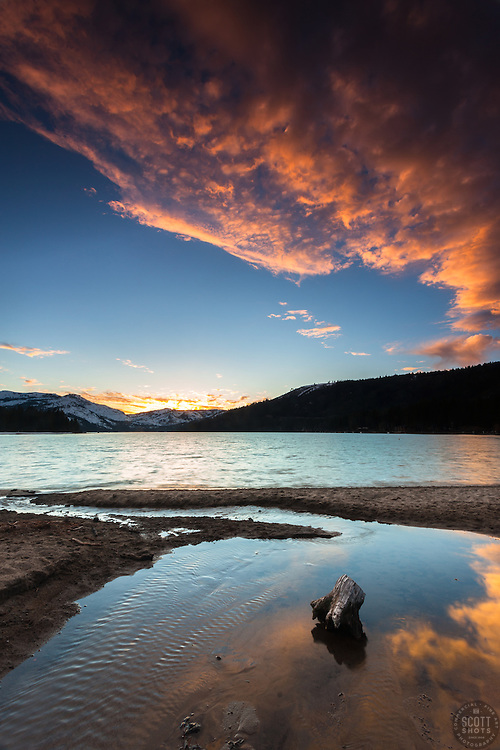 """Donner Lake Sunset 30"" - Photograph of a sunset at Donner Lake, shot from the East end looking toward Donner Summit."