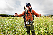 Sanctuary Manager Tom Griffin briefs visitors before heading out for a day of close-up brown bear viewing at the McNeil River State Game Sanctuary on the Kenai Peninsula, Alaska. The remote site is accessed only with a special permit and is the world's largest seasonal population of brown bears in their natural environment.